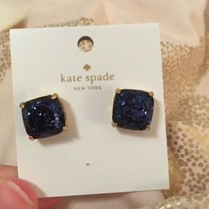 kate spade Jewelry - kate spade navy sparkle square stud earrings nwt